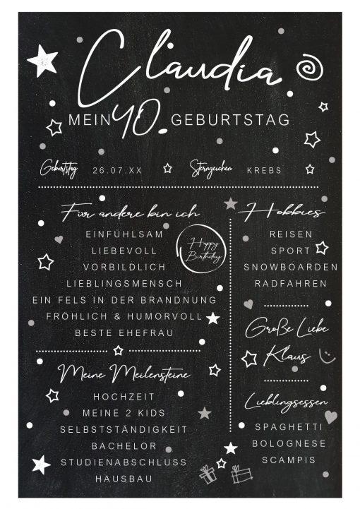 Meilensteintafel Chalkboard 40. Geburtstag Geschenk Personalisiert Mann Frau Chalk Eleganz Simpel Kopie