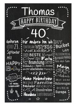 Meilensteintafel Chalkboard 40. Geburtstag Geschenk Personalisiert Mann Frau Geburtstagstafel Retro Dots