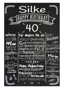 Meilensteintafel Chalkboard 40. Geburtstag Geschenk Personalisiert Mann Frau Geburtstagstafel Retro Stripes