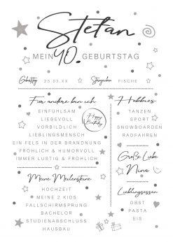 Meilensteintafel Chalkboard 40. Geburtstag Geschenk Personalisiert Mann Frau White Eleganz Simpel