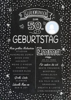 Meilensteintafel Chalkboard 50. Geburtstag Geschenk Personalisiert Geburtstagstafel Frau Mann Chalkline Foto