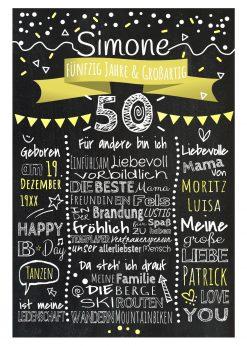 Meilensteintafel Chalkboard 50. Geburtstag Geschenk Personalisiert Geburtstagstafel Frau Mann Gelb Klassik