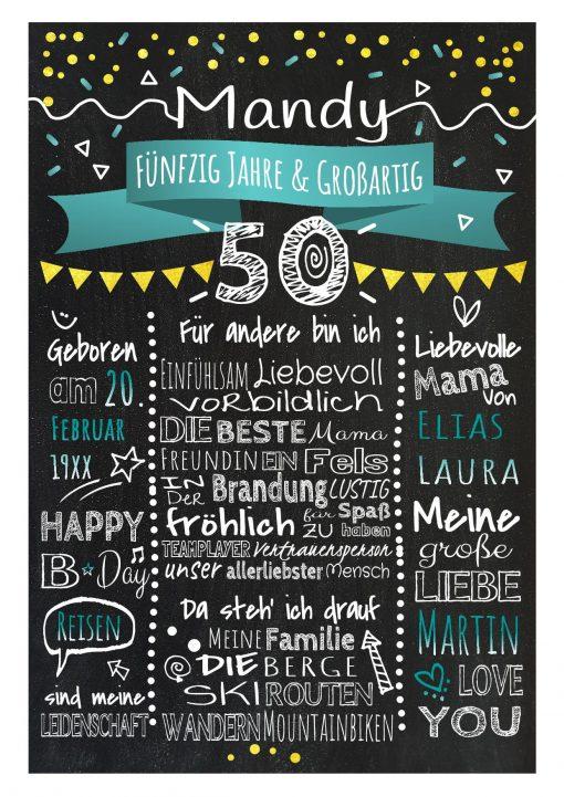 Meilensteintafel Chalkboard 50. Geburtstag Geschenk Personalisiert Geburtstagstafel Frau Mann Gold Türkis Klassik