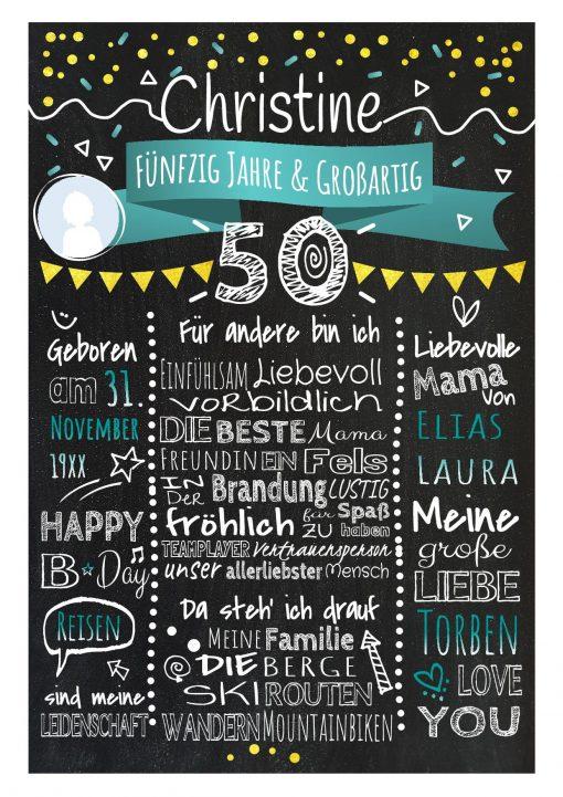 Meilensteintafel Chalkboard 50. Geburtstag Geschenk Personalisiert Geburtstagstafel Frau Mann Gold Türkis Klassik Foto