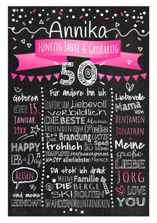 Meilensteintafel Chalkboard 50. Geburtstag Geschenk Personalisiert Geburtstagstafel Frau Mann Pink Klassik