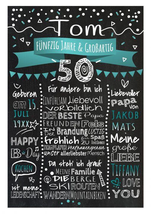 Meilensteintafel Chalkboard 50. Geburtstag Geschenk Personalisiert Geburtstagstafel Frau Mann Türkis Klassik