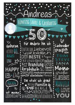 Meilensteintafel Chalkboard 50. Geburtstag Geschenk Personalisiert Geburtstagstafel Frau Mann Türkis Klassik Foto