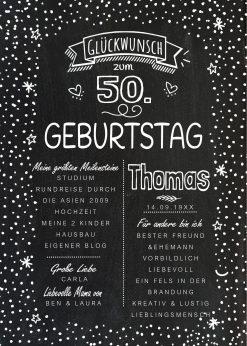 Meilensteintafel Chalkboard 50. Geburtstag Geschenk Personalisiert Geburtstagstafelmann Frau Chalkline