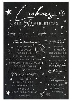 Meilensteintafel Chalkboard 50. Geburtstag Geschenk Personalisiert Mann Frau Chalk Eleganz Simpel