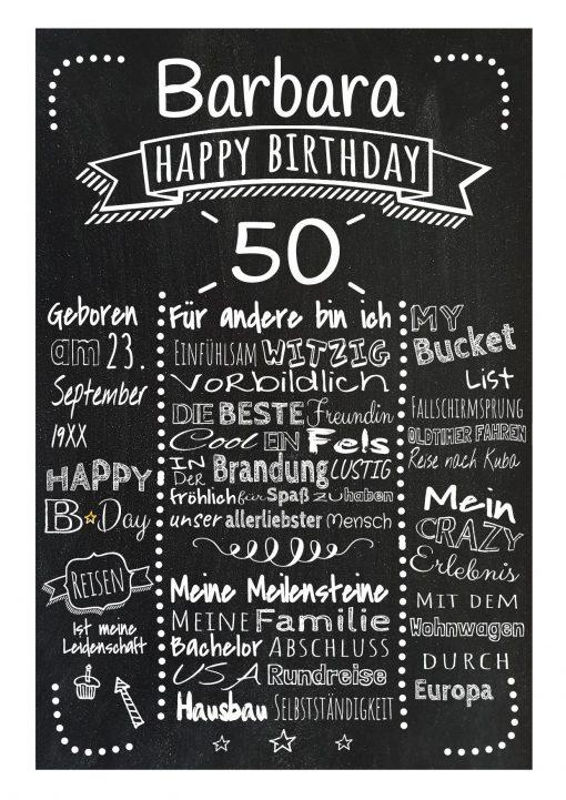 Meilensteintafel Chalkboard 50. Geburtstag Geschenk Personalisiert Mann Frau Geburtstagstafel Retro Dots