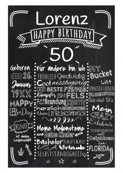 Meilensteintafel Chalkboard 50. Geburtstag Geschenk Personalisiert Mann Frau Geburtstagstafel Retro Stripes