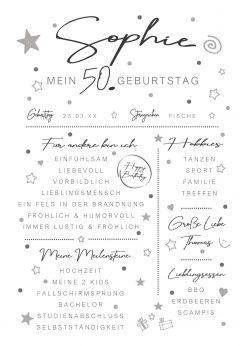 Meilensteintafel Chalkboard 50. Geburtstag Geschenk Personalisiert Mann Frau White Eleganz Simpel