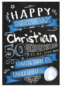 Meilensteintafel Chalkboard 50. Geburtstag Retro Edel Mann Frau Geburtstagstafel Blau