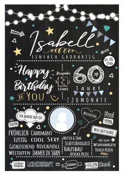 Meilensteintafel Chalkboard 60. Geburtstag Geschenk Personalisiert Chalk O Classic Geburtstagstafel Frau