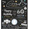 Meilensteintafel Chalkboard 60. Geburtstag Geschenk Personalisiert Chalk O Classic Geburtstagstafel Mann