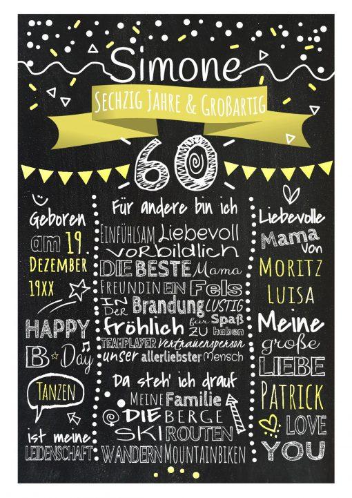 Meilensteintafel Chalkboard 60. Geburtstag Geschenk Personalisiert Geburtstagstafel Frau Mann Gelb Klassik