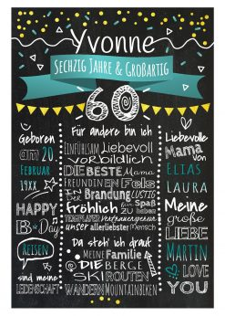 Meilensteintafel Chalkboard 60. Geburtstag Geschenk Personalisiert Geburtstagstafel Frau Mann Gold Türkis Klassik