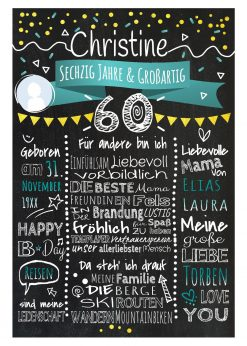 Meilensteintafel Chalkboard 60. Geburtstag Geschenk Personalisiert Geburtstagstafel Frau Mann Gold Türkis Klassik Foto