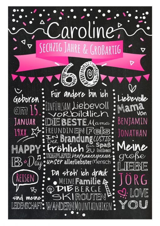 Meilensteintafel Chalkboard 60. Geburtstag Geschenk Personalisiert Geburtstagstafel Frau Mann Pink Klassik