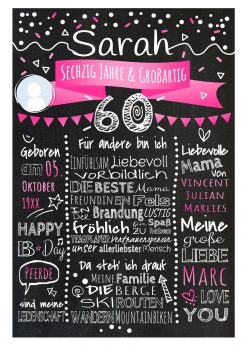 Meilensteintafel Chalkboard 60. Geburtstag Geschenk Personalisiert Geburtstagstafel Frau Mann Pink Klassik Foto