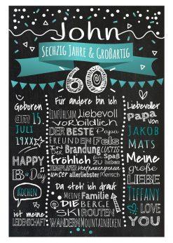 Meilensteintafel Chalkboard 60. Geburtstag Geschenk Personalisiert Geburtstagstafel Frau Mann Türkis Klassik