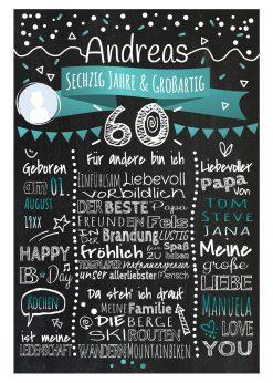 Meilensteintafel Chalkboard 60. Geburtstag Geschenk Personalisiert Geburtstagstafel Frau Mann Türkis Klassik Foto