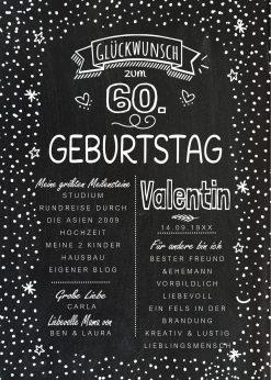 Meilensteintafel Chalkboard 60. Geburtstag Geschenk Personalisiert Geburtstagstafel Mann Frau Chalkline