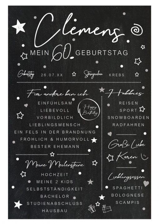Meilensteintafel Chalkboard 60. Geburtstag Geschenk Personalisiert Mann Frau Chalk Eleganz Simpel