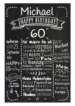 Meilensteintafel Chalkboard 60. Geburtstag Geschenk Personalisiert Mann Frau Geburtstagstafel Retro Dots