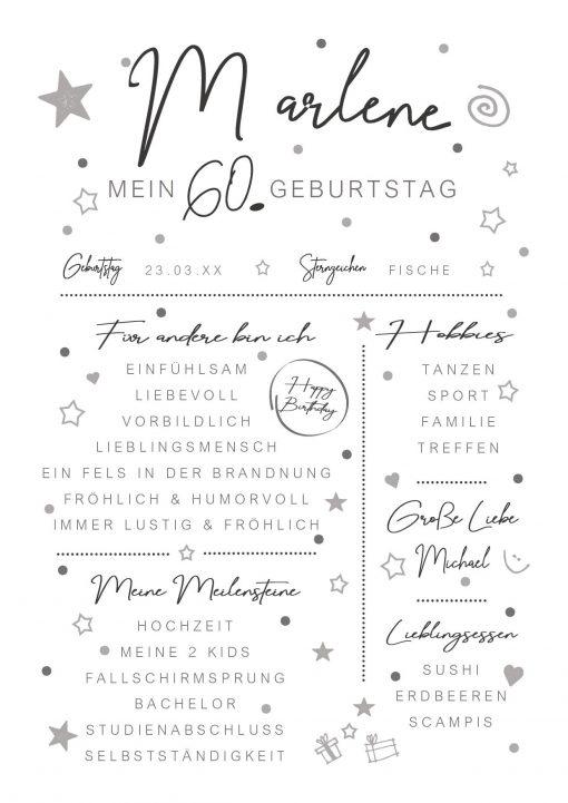 Meilensteintafel Chalkboard 60. Geburtstag Geschenk Personalisiert Mann Frau White Eleganz Simpel