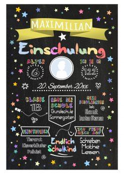Meilensteintafel Chalkboard Einschulung Geschenk Personalisiert Einschulungstafel Mädchen Junge Gelb Twinkle Star