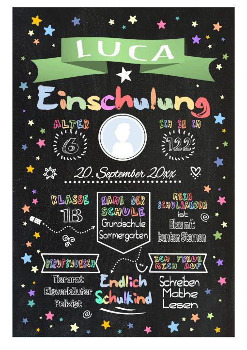 Meilensteintafel Chalkboard Einschulung Geschenk Personalisiert Einschulungstafel Mädchen Junge Grün Twinkle Star