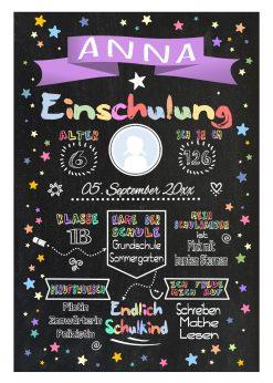Meilensteintafel Chalkboard Einschulung Geschenk Personalisiert Einschulungstafel Mädchen Junge Lila Twinkle Star