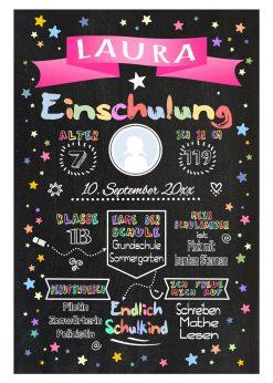 Meilensteintafel Chalkboard Einschulung Geschenk Personalisiert Einschulungstafel Mädchen Junge Pink Twinkle Star