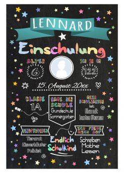 Meilensteintafel Chalkboard Einschulung Geschenk Personalisiert Einschulungstafel Mädchen Junge Türkis Twinkle Star