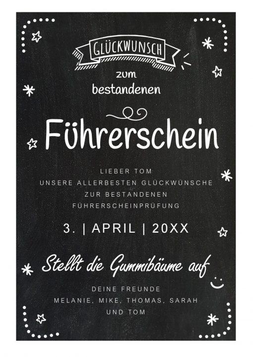 Meilensteintafel Chalkboard Führerschein Bestanden Geschenk Personalisiert Kreidetafel Dots