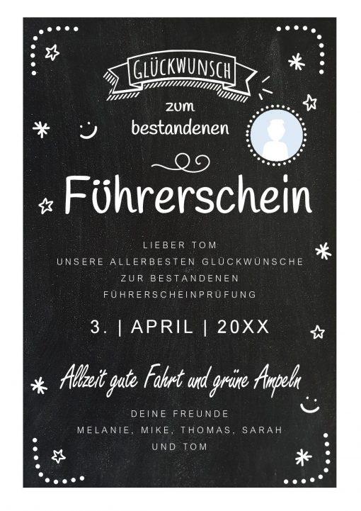 Meilensteintafel Chalkboard Führerschein Bestanden Geschenk Personalisiert Kreidetafel Dots Foto