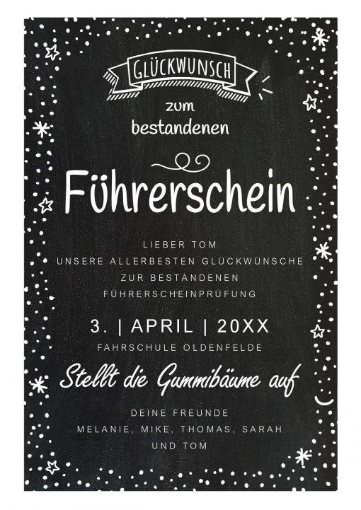 Meilensteintafel Chalkboard Führerschein Bestanden Geschenk Personalisiert Kreidetafel Happy Dots
