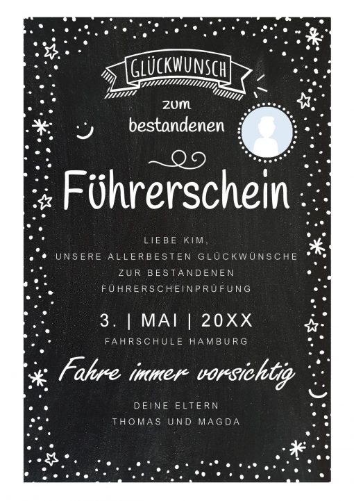 Meilensteintafel Chalkboard Führerschein Bestanden Geschenk Personalisiert Kreidetafel Happy Dots Foto