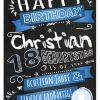 Meilensteintafel Chalkboard Geschenk 18. Geburtstag Retro Edel Mann Frau Geburtstagstafel Blau