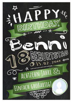 Meilensteintafel Chalkboard Geschenk 18. Geburtstag Retro Edel Mann Frau Geburtstagstafel Grün Personalisiert
