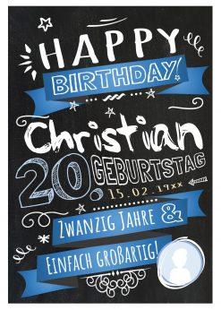 Meilensteintafel Chalkboard Geschenk 20. Geburtstag Retro Edel Mann Frau Geburtstagstafel Blau Personalisiert
