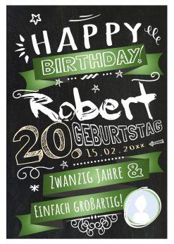 Meilensteintafel Chalkboard Geschenk 20. Geburtstag Retro Edel Mann Frau Geburtstagstafel Grün Personalisiert
