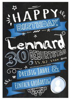 Meilensteintafel Chalkboard Geschenk 30. Geburtstag Retro Edel Mann Frau Geburtstagstafel Blau Personalisiert