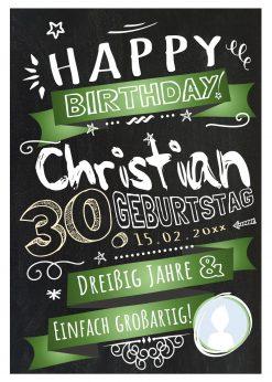 Meilensteintafel Chalkboard Geschenk 30. Geburtstag Retro Edel Mann Frau Geburtstagstafel Grün Personalisiert
