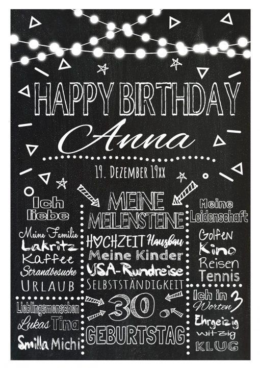 Meilensteintafel Chalkboard Geschenk 30. Geburtstag Personalisiert Mann Frau Geburtstagstafel Lights