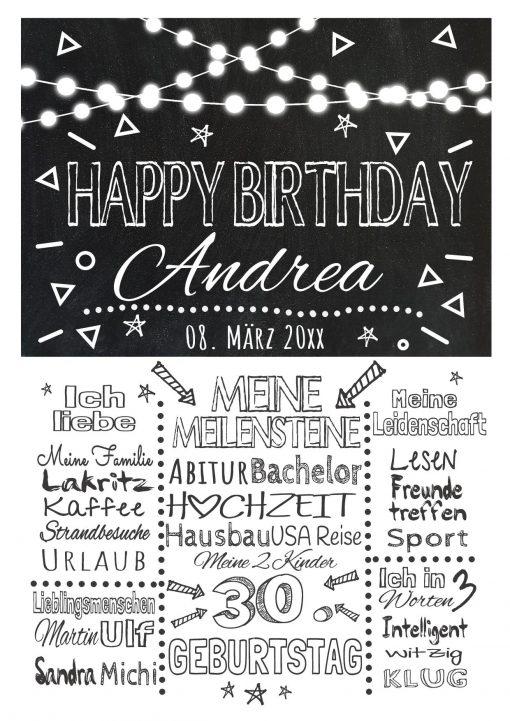 Meilensteintafel Chalkboard Geschenk 30. Geburtstag Personalisiert Mann Frau Geburtstagstafel Lights White