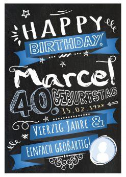 Meilensteintafel Chalkboard Geschenk 40. Geburtstag Retro Edel Mann Frau Geburtstagstafel Blau Personalisiert