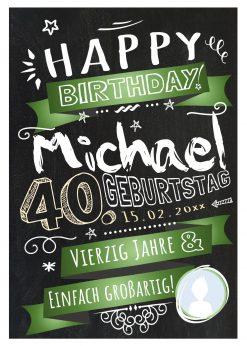 Meilensteintafel Chalkboard Geschenk 40. Geburtstag Retro Edel Mann Frau Geburtstagstafel Grün Personalisiert