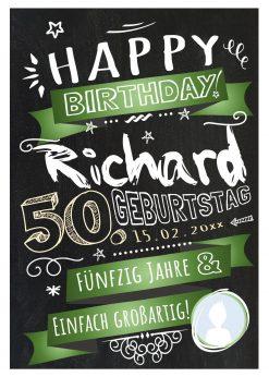 Meilensteintafel Chalkboard Geschenk 50. Geburtstag Retro Edel Mann Frau Geburtstagstafel Grün Personalisiert
